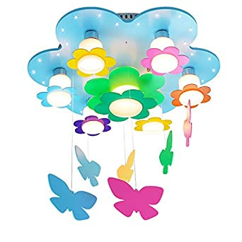 Fantasy Colored Flowers Princess Room Ceiling Lamp Romantic Wooden ...