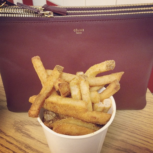 LE FASHION BLOG INSTAGRAM PICTURES TWO FAVORITES RED BURGUNDY CELINE LARGE TRIO CROSSOVER BAG FIVE GUYS BURGERS AND FRIES CAJUN FRIES