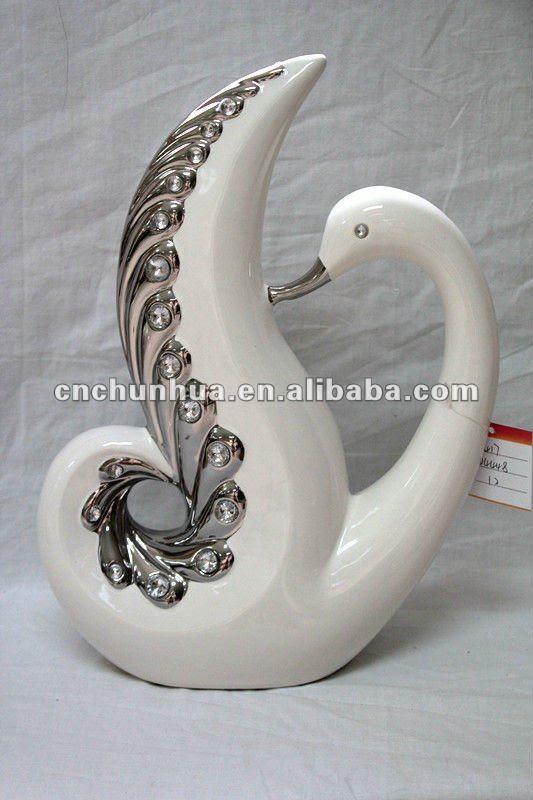 Ceramic swan house furnishing enamel home decor animal ceramic ...