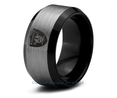 oakland raiders black tungsten wedding band ring mens