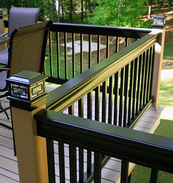 aluminum railing black and tan with post cap light