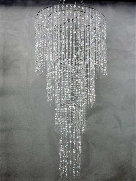 Large 4 Tiered Chandelier with Diamond Cut Beads   6ft!