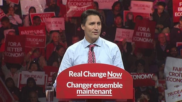 Liberal Leader Justin Trudeau speaks at a rally in Brampton, Ont. on Oct. 4, 2015.