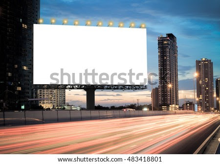 Blank template for outdoor advertising or blank billboard on the ...