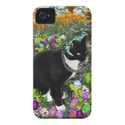 Freckles, Tux Cat, in the Hunt for Easter Eggs iPhone 4 Covers