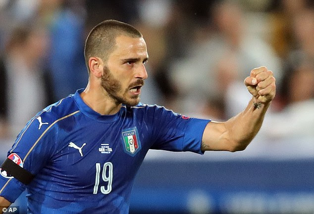 Leonardo Bonuccicalmness personified as he took the penalty to get Italy back in the game