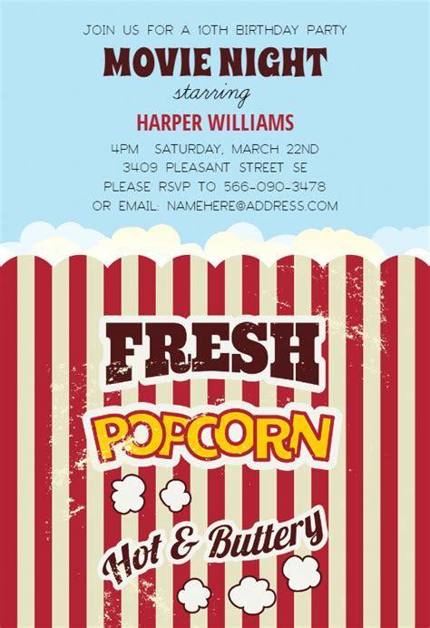 Popcorn   Birthday Invitation Template (Free)   Greetings