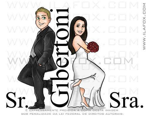 caricatura noivos, caricatura casal, caricatura sr e sra smith, Gibertoni, caricatura sem exageros, by ila fox