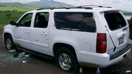 Picture of the SUV Vice Adm Carlos Salazar was travelling in at the time of the ambush