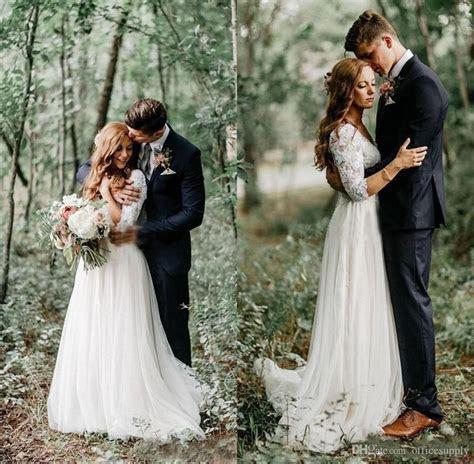 Discount 2018 Boho Lace Wedding Dresses Long Sleeves