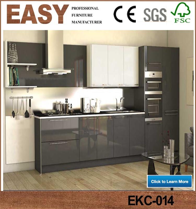 High gloss finish laminate modern black kitchen cabinets ...