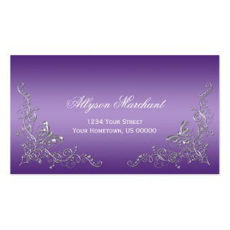 Elegant Ornate Silver Swirls on Purple Ombre