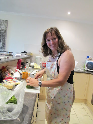 Tamara fixing Christmas Dinner