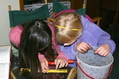 Sophia and Hannah Measuring a Worm