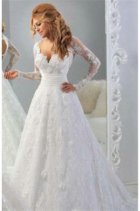 Long Sleeves V Neck Lace Wedding Dresses Bridal Gowns 3030048