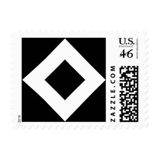Black and White Diamond Pattern Postage Stamp
