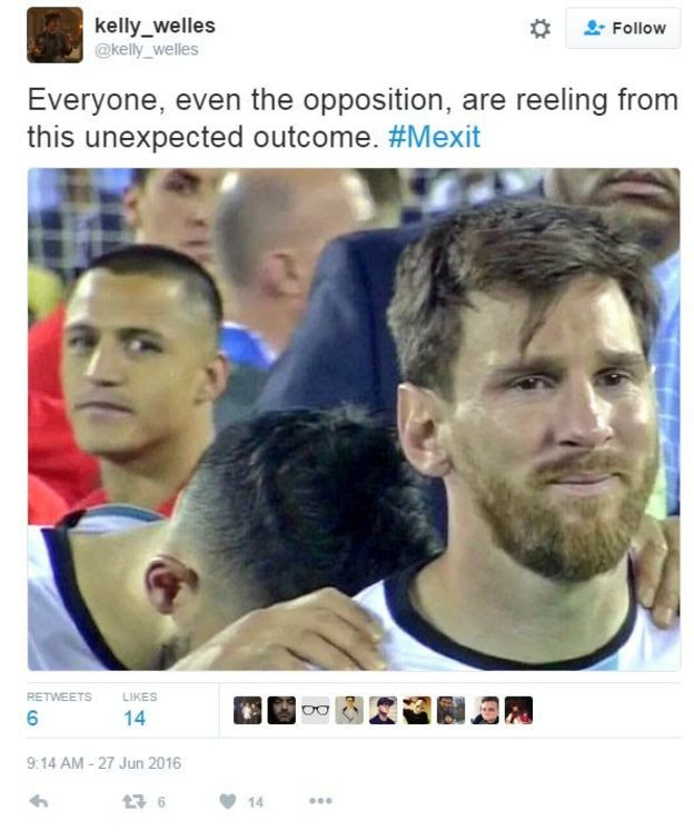 Photo showing Chilean player hugging Messi