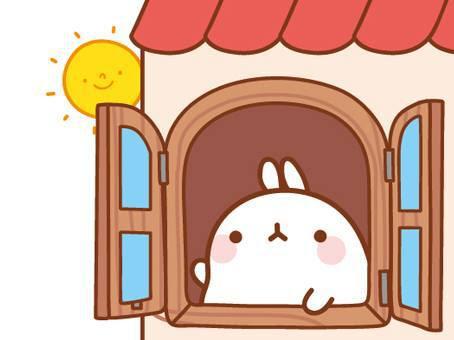 мило, рисунок, привет, жилище, прекрасно, розовый, заяц, простое, солнце