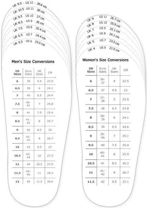 shoes measurement chart  printable adult men  woman shoes sizing chart  printable