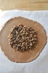 Chocolate crostata with pears and amaretti