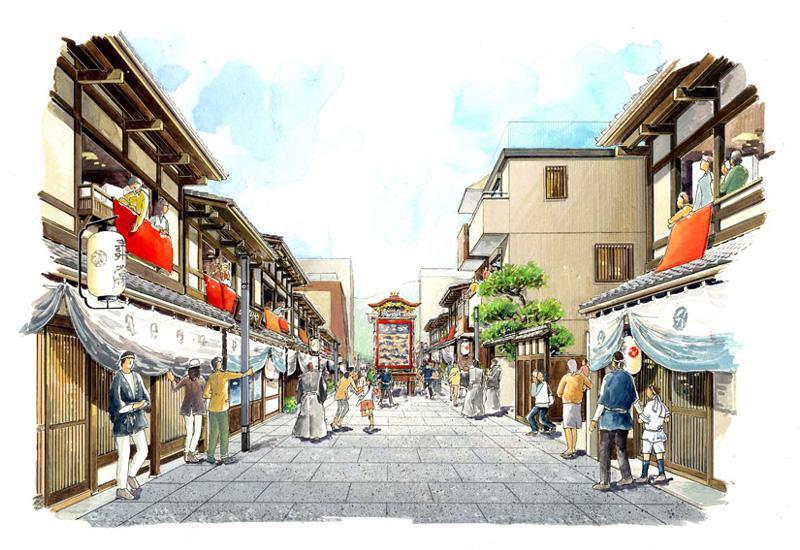 M08 古都の町並み 手描きイラスト 手書きパース 京都 奈良 滋賀