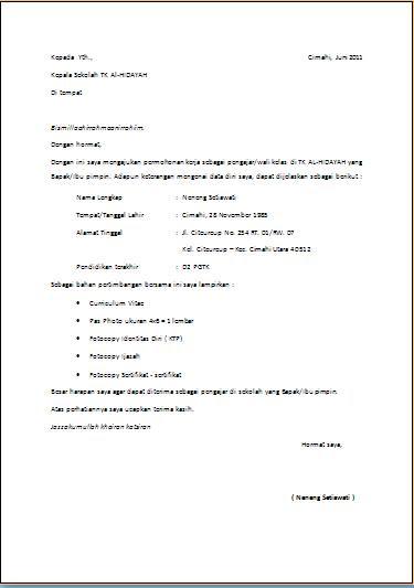 Contoh Surat Lamaran Kerja Terbaru 2014 Lengkap