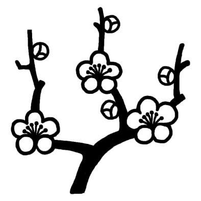 ウメ3ツバキウメ椿梅冬の花無料白黒イラスト素材