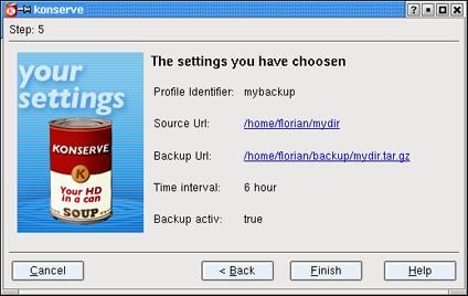 Konserve, applicazione di backup per KDE