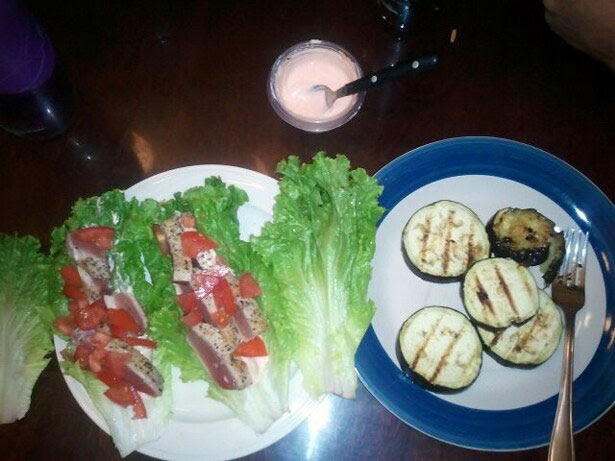 Seared Ahi Lettuce Wraps with grilled eggplant