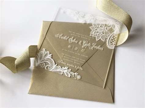 Clear Acrylic Invitation white lace design and Gold Leaf