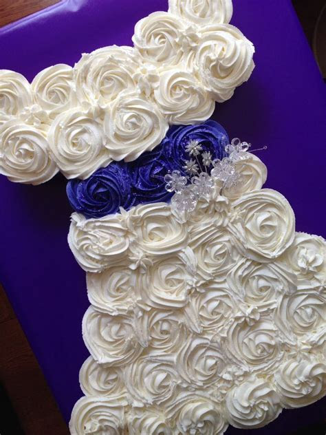 Bridal shower cake made out of cupcakes in the shape of a