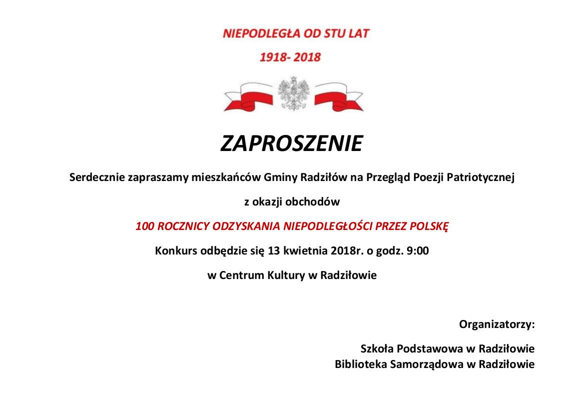 Zaproszenie Szkoła Podstawowa W Radziłowie