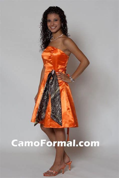 Long Orange Bridesmaid Dresses with camo sash     in