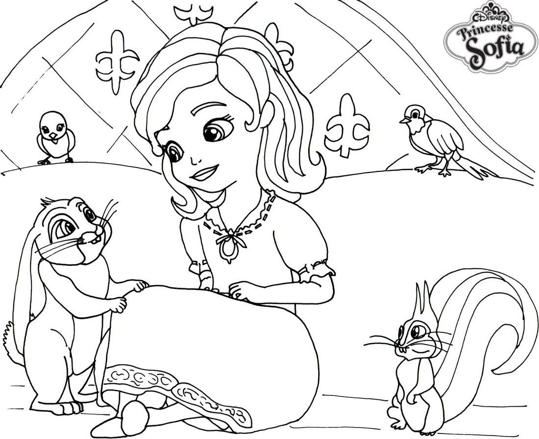 coloriage princesse sofia sur son lit