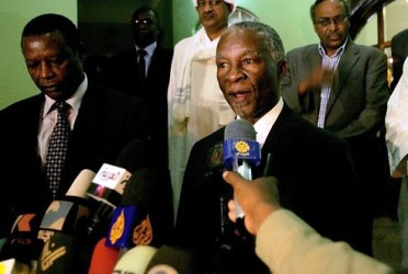 Chief African Union mediator and former South African president, Thabo Mbeki speaks with media after his meeting with Sudanese President Omar al-Bashir in Khartoum on April 6, 2012.  by Pan-African News Wire File Photos