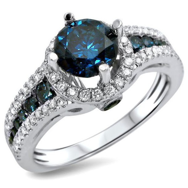 Modern rings for newlyweds Round blue diamond engagement ring