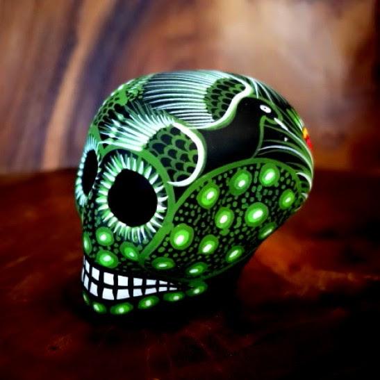 Medium Ceramic Chicano Sugar Skull Green Mexico Con Amor
