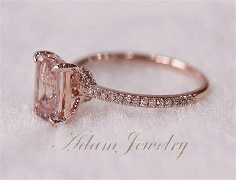 Pink Emerald Cut VS Morganite Ring SI/H Diamonds by