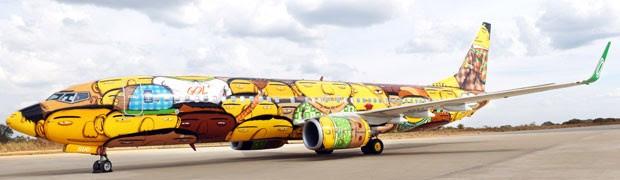 Mil latas de spray de tintas foram usadas na pintura do avião (Foto: Divulgação)