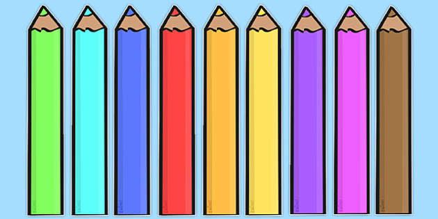Editable Coloured Pencils - Display, editable, label, pencil