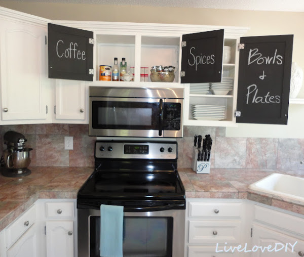 Kitchen Makeover With Chalkboard Cabinet Doors