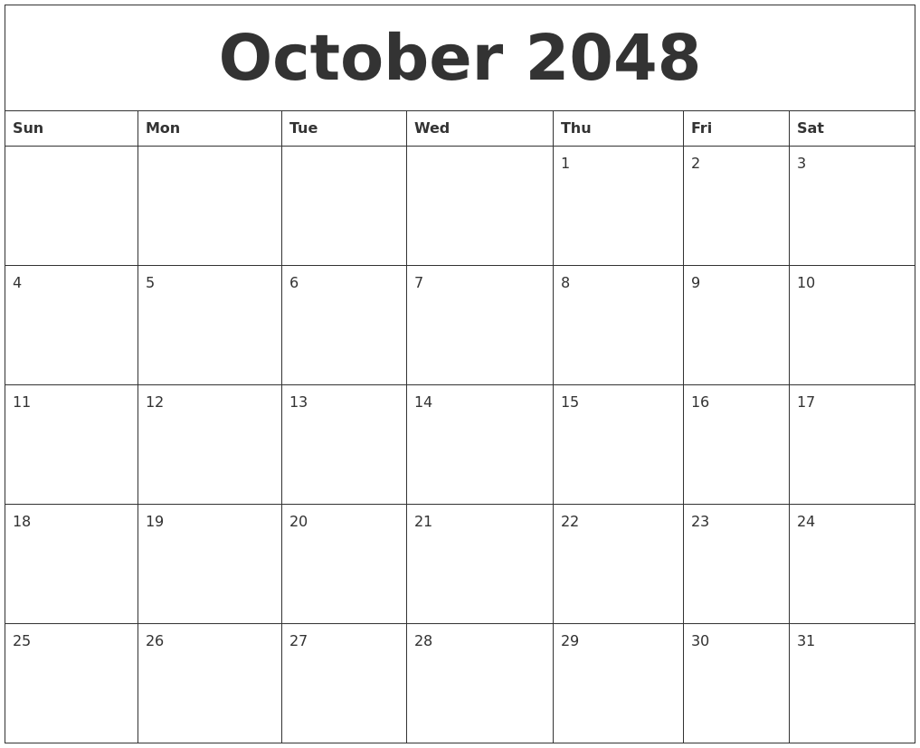 october 2048 free calender