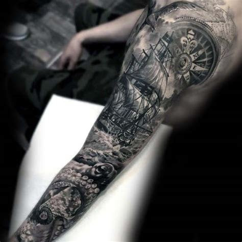 nautical sleeve tattoos  men seafaring ink deisgn