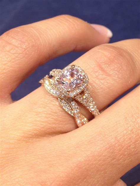 Rose Gold Engagement Ring with Twist Wedding Band
