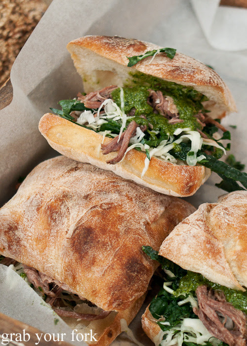 Brisket, cabbage and salsa verde on ciabatta from Brickfields at the Sunday Marketplace, Rootstock Sydney 2014