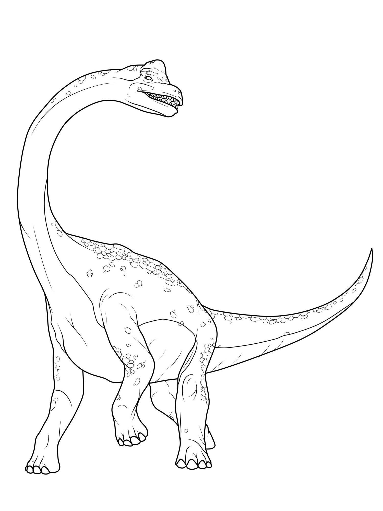 Ausmalbild Dinosaurier und Steinzeit Dinosaurier Brachiosaurus kostenlos ausdrucken