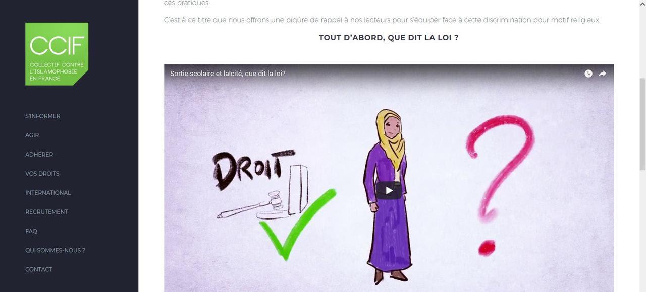 Sur son site Internet, le CCIF donne trois conseils aux mères de famille voilées qui se verraient interdire d'accompagner une sortie scolaire.