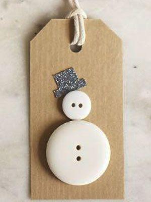 Make a button snowman gift tag