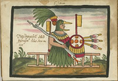figura Uitzilopuchtli, idolo principal de los Mexicanos.