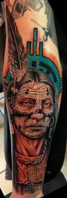 Awesome Tattoo Of Native American
